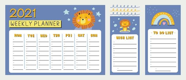 Agenda settimanale, lista dei desideri e lista di fare con leone sveglio e illustrazione di elementi disegnati a mano