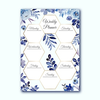 Agenda settimanale con acquerello floreale blu