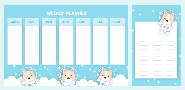 Agenda settimanale con simpatico cane corgi.