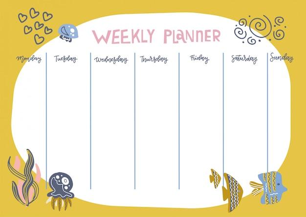 Agenda settimanale con divertenti animali sott'acqua, alghe e pesci in stile cartone animato doodle. modello di progettazione del programma dei bambini.