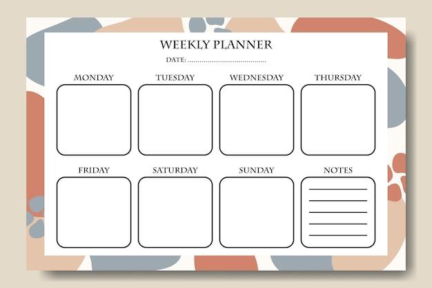 Agenda settimanale con sfondo astratto disegnato a mano vettoriale stampabile