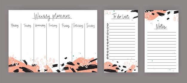 Agenda settimanale con giorni della settimana, foglio per appunti e modelli di liste di cose da fare decorati