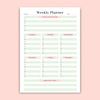 Pianificatore settimanale con lista delle cose da fare