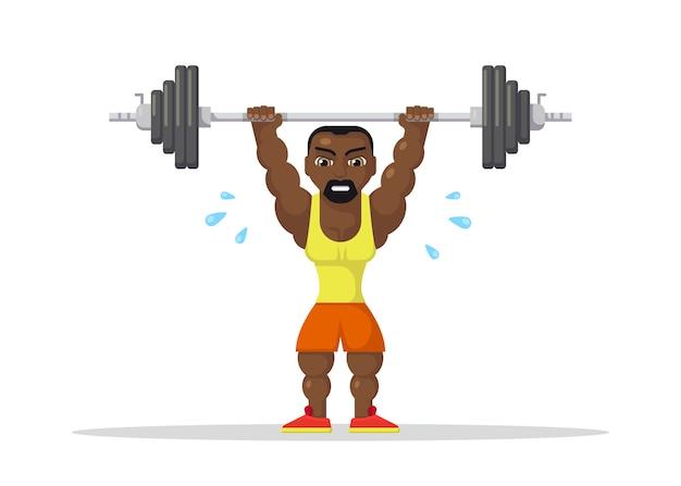 Atleta di sollevamento pesi con barbo facendo squat e jerk. concetto di allenamento in palestra. design del personaggio in stile piatto.
