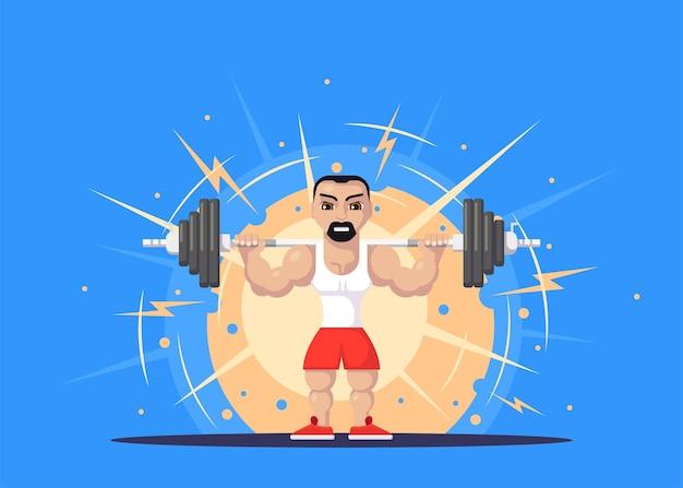 Atleta di sollevamento pesi con barbo sul collo. concetto di allenamento in palestra. design del personaggio in stile piatto.