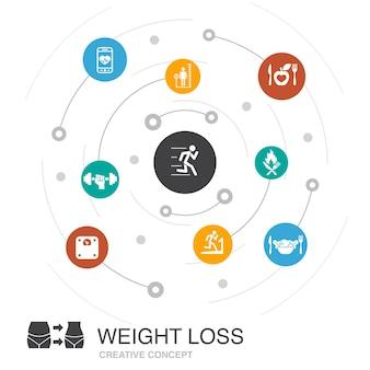 Concetto di cerchio colorato perdita di peso con icone semplici. contiene elementi come scala corporea, cibo sano, palestra, dieta