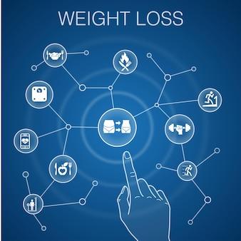 Concetto di perdita di peso, sfondo blu. bilancia corporea, cibo sano, palestra, icone dietetiche