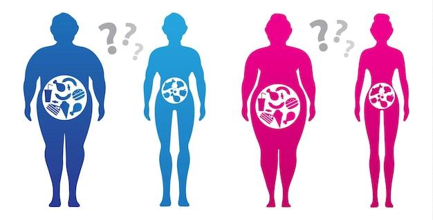 Concetto di perdita di peso l'influenza della dieta sul peso della persona