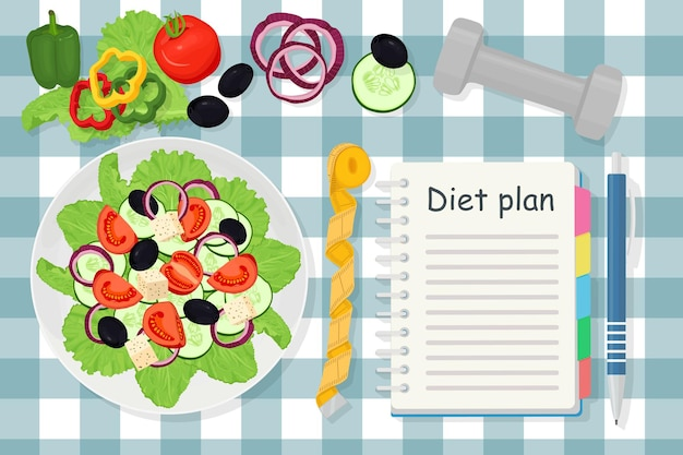 Concetto di perdita di peso. insalata, verdure e dieta in un taccuino. mangiare sano, dieta