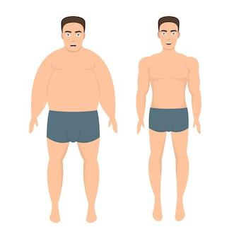 Uomo di perdita di peso isolato su priorità bassa bianca