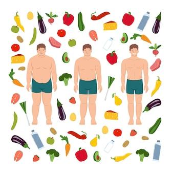 Uomo dimagrante persona prima e dopo cibo sano sport e fitness trasformazione del corpo