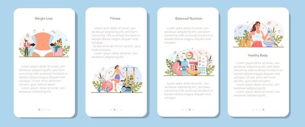 Set di banner per applicazioni mobili per la perdita di peso