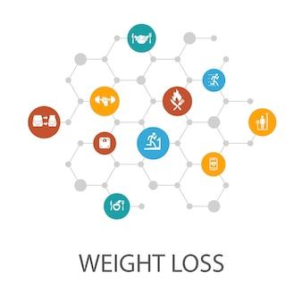 Modello di presentazione della perdita di peso, layout di copertina e infografica bilancia corporea, cibo sano, palestra, icone di dieta