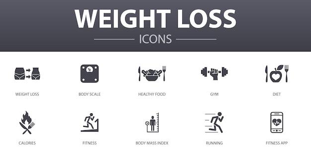 Icone semplici di concetto di perdita di peso messe. contiene icone come bilancia corporea, cibo sano, palestra, dieta e altro, può essere utilizzato per web, logo, ui/ux