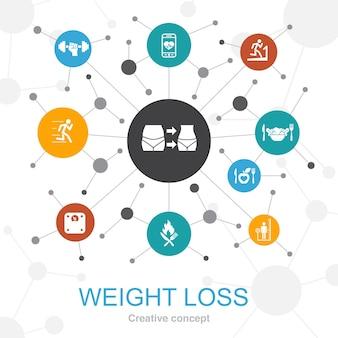 Concetto di web alla moda di perdita di peso con le icone. contiene icone come bilancia, cibo sano, palestra, dieta