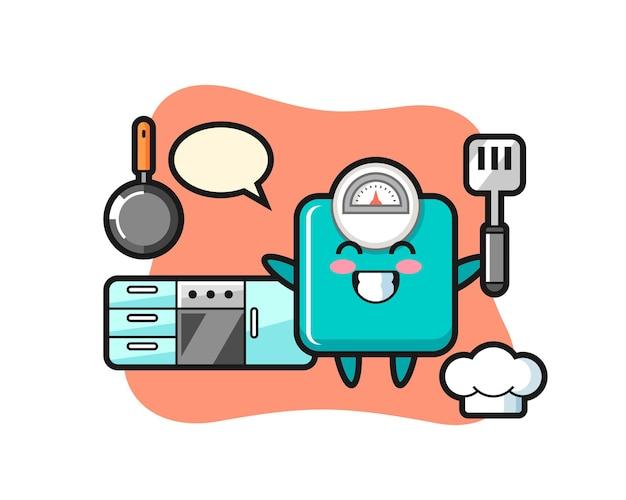 Illustrazione del personaggio della scala del peso mentre uno chef sta cucinando, design in stile carino per maglietta, adesivo, elemento logo