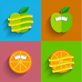 Concetto di scala di peso, illustrazione. stile di vita sano e simboli di perdita di peso. piatto