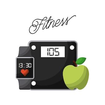 Dispositivo di bilancia, smart watch e icona di apple