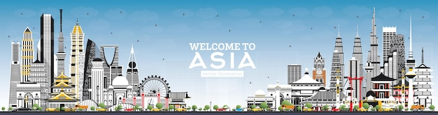 Benvenuti in asia skyline con edifici grigi e cielo blu. tokio. shanghai. singapore. delhi. riyad.