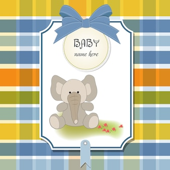 Welcome baby card con elefante