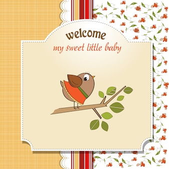 Welcome baby card con uccellino divertente