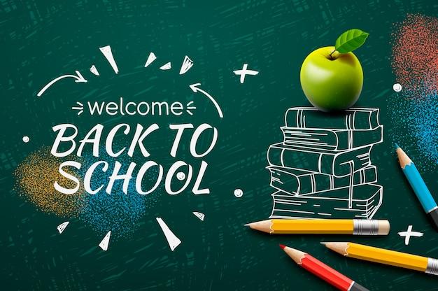 Benvenuto di nuovo a scuola, scarabocchio sul fondo della lavagna ,.