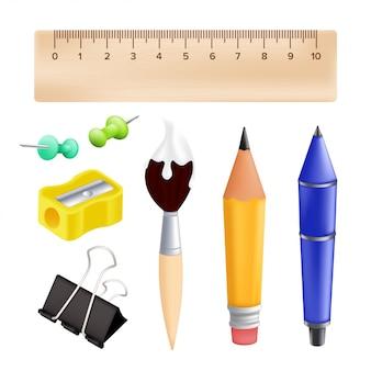 Bentornati a scuola: oggetti con matita, righello, penna, temperamatite, puntina, graffetta, pennello. illustrazione con oggetti educativi realistici isolati su sfondo bianco