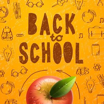 Benvenuto di nuovo al fondo di vendita della scuola con la mela rossa, illustrazione