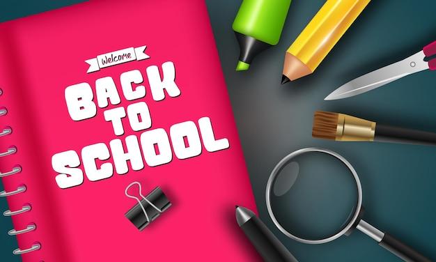 Bentornato a scuola banner vettoriale con materiale scolastico illustrazione vettoriale