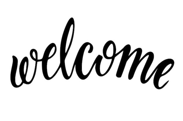 Benvenuto - iscrizione calligrafica. iscrizione di benvenuto. iscrizione disegnata a mano. cartolina con calligrafia. elemento di design fatto a mano. illustrazione vettoriale.