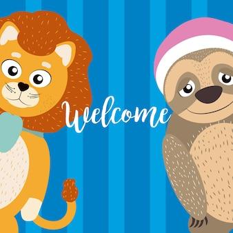 Carta di benvenuto con cartoni animati animali divertenti