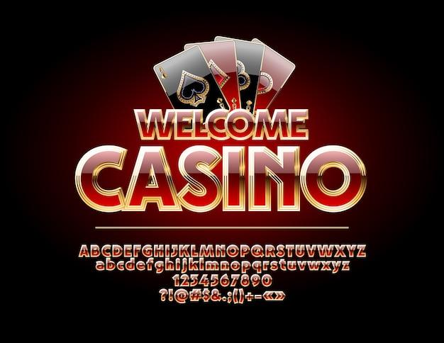 Casino di benvenuto. set di lettere rosse e oro, numeri e simboli