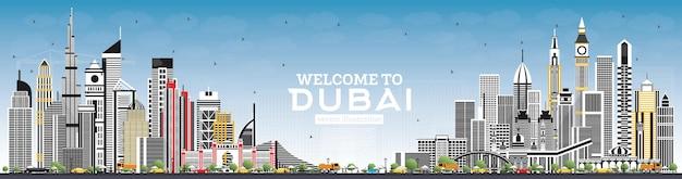 Benvenuti allo skyline di dubai emirati arabi uniti con edifici grigi e cielo blu. illustrazione di vettore. viaggi d'affari e concetto di turismo con architettura moderna. paesaggio urbano di dubai con punti di riferimento.
