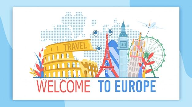 Benvenuti in europa banner pubblicitario piatto vettoriale