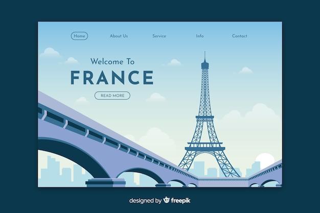 Benvenuti nel modello di landing page in francia Vettore Premium
