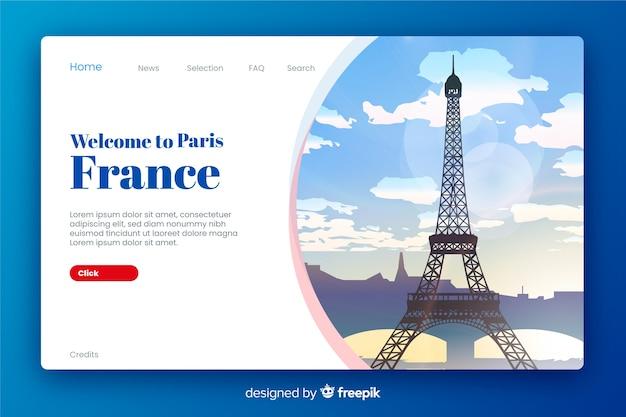 Benvenuto nella landing page della francia Vettore Premium