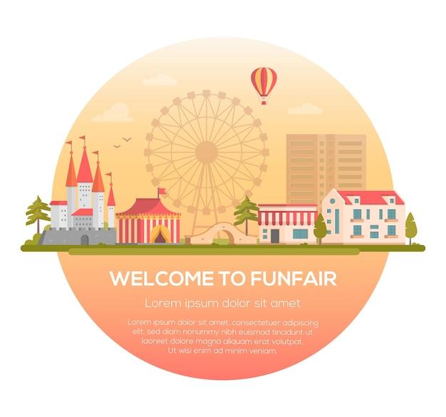 Benvenuti al luna park - illustrazione vettoriale moderna in una cornice rotonda con posto per il testo. parco divertimenti con padiglione del circo, castello, sagoma della grande ruota. paesaggio urbano con ponte, case