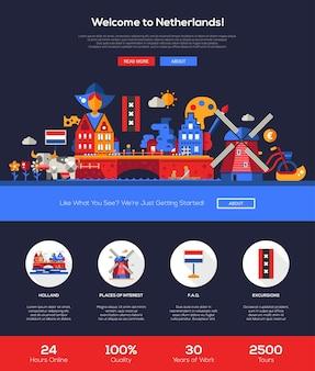 Benvenuti nel modello di sito web di viaggi in olanda
