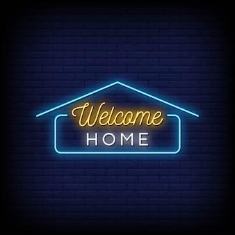Benvenuti a casa insegne al neon in stile testo