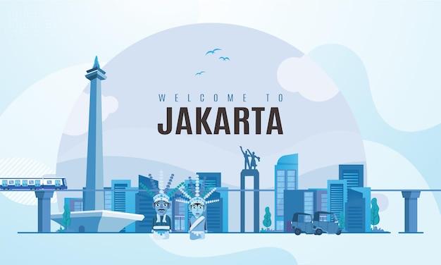 Benvenuti nella città di jakarta con lo sfondo dell'illustrazione del punto di riferimento