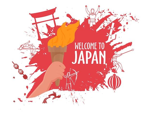 Welcome to japan poster design con mano che tiene torcia fiammeggiante e pennellata rossa red