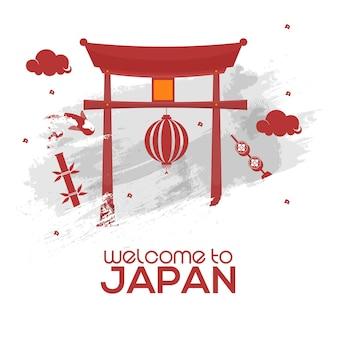 Welcome to japan poster design con cancello giapponese (torii), lanterna appesa ed effetto pennello