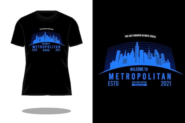 Benvenuti nel design della maglietta dalla silhouette metropolitana