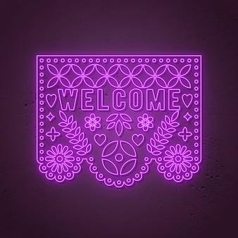 Insegna al neon di benvenuto. dia de los muertos - day of the dead, stile neon messicano