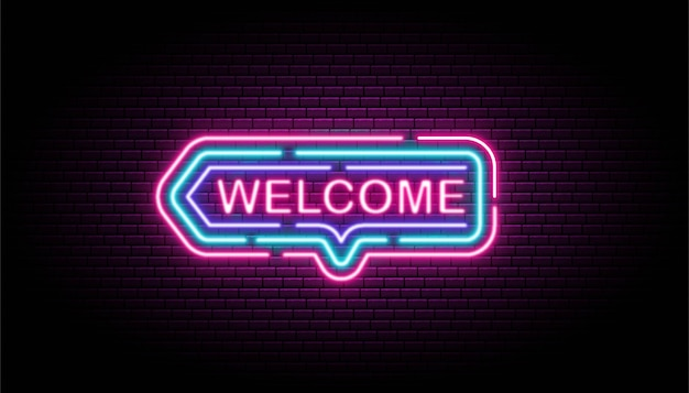Insegna al neon di benvenuto sulla parete