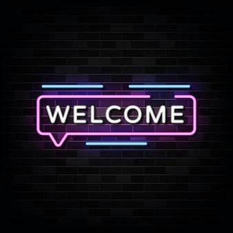Insegne al neon di benvenuto sulla parete nera
