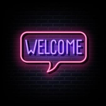 Benvenuto al neon testo simbolo al neon