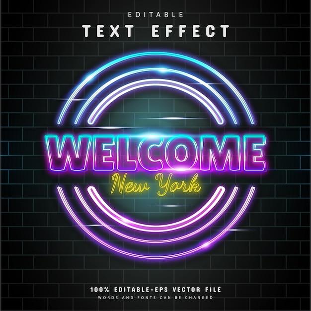 Benvenuto effetto testo al neon di new york