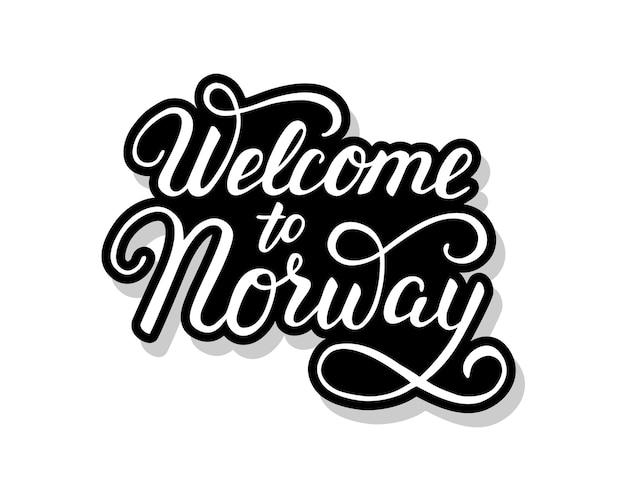 Benvenuto nel testo del modello di calligrafia della norvegia per il tuo. parole del titolo scritte a mano