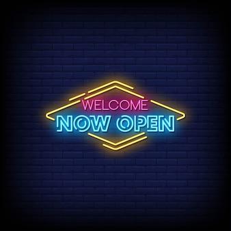 Benvenuto ora apri il testo in stile insegne al neon